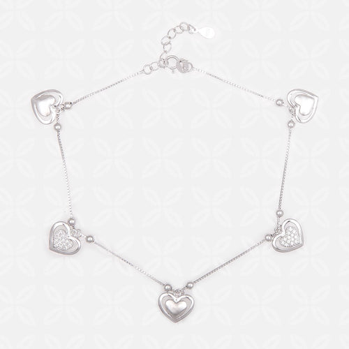 Pretty Hearts Silver Anklet