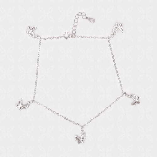 Five Butterflies Silver Anklet