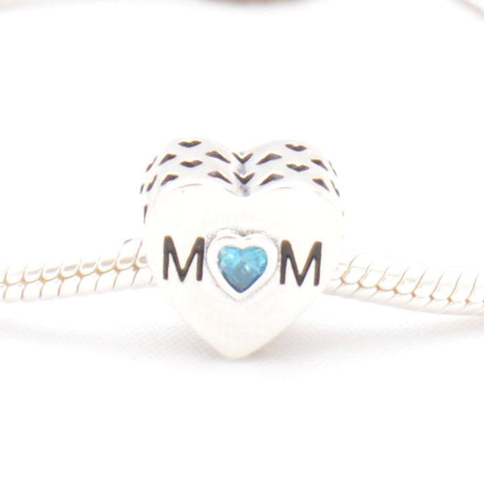 """Mom"" Heart Silver Charm,  - JewelHub jewelry"
