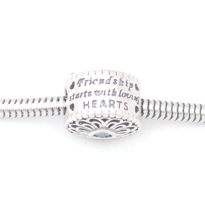 Friend Ship Starts With Loving Hearts Silver Charm