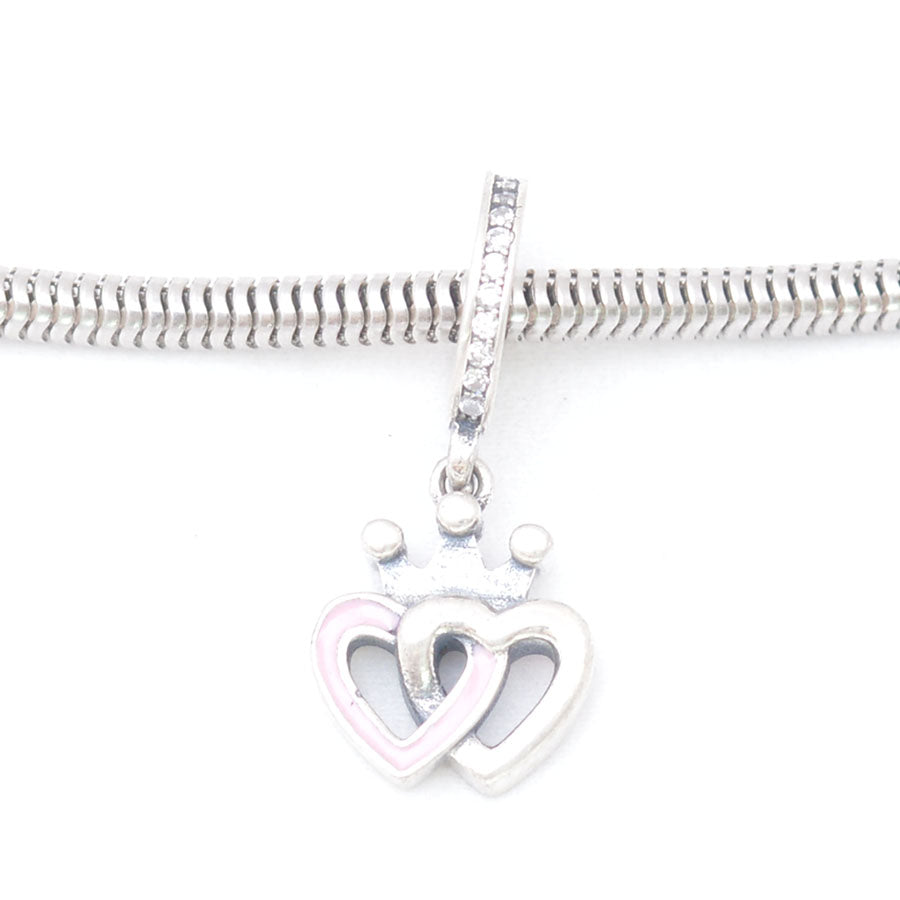 Pink & white Heart Silver Charm