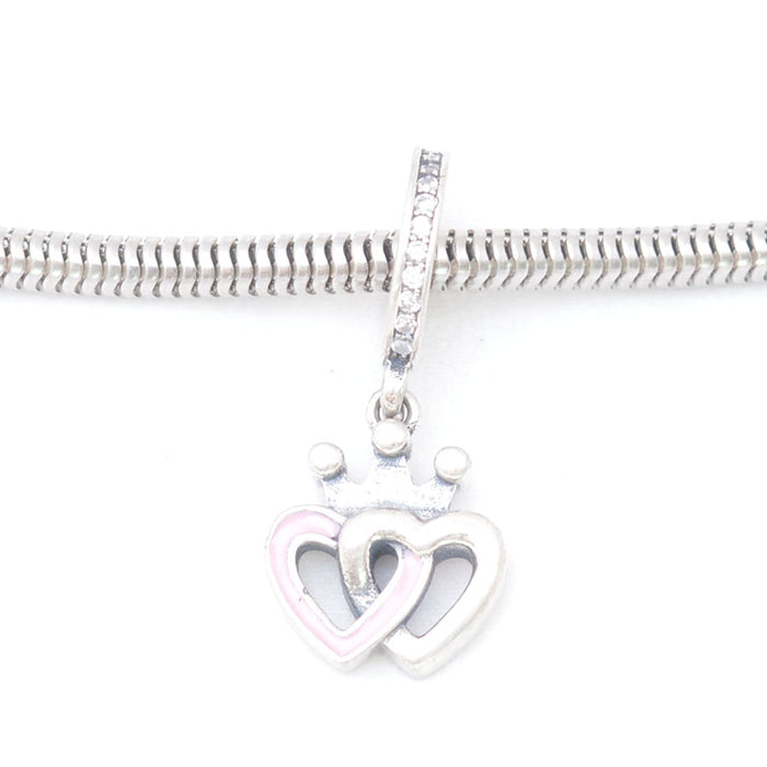 Pink & white Heart Silver Charm, Silver Charm - JewelHub jewelry
