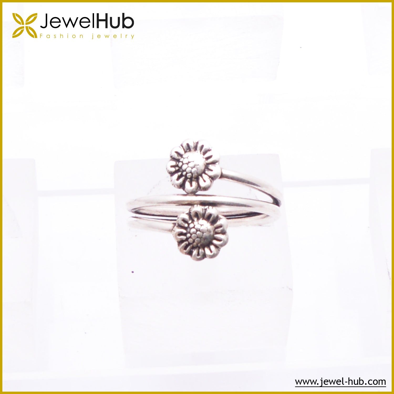 Double Flower Silver Ring