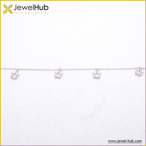 Crowns Silver Anklet