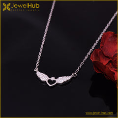 Wing With Heart Silver Necklace
