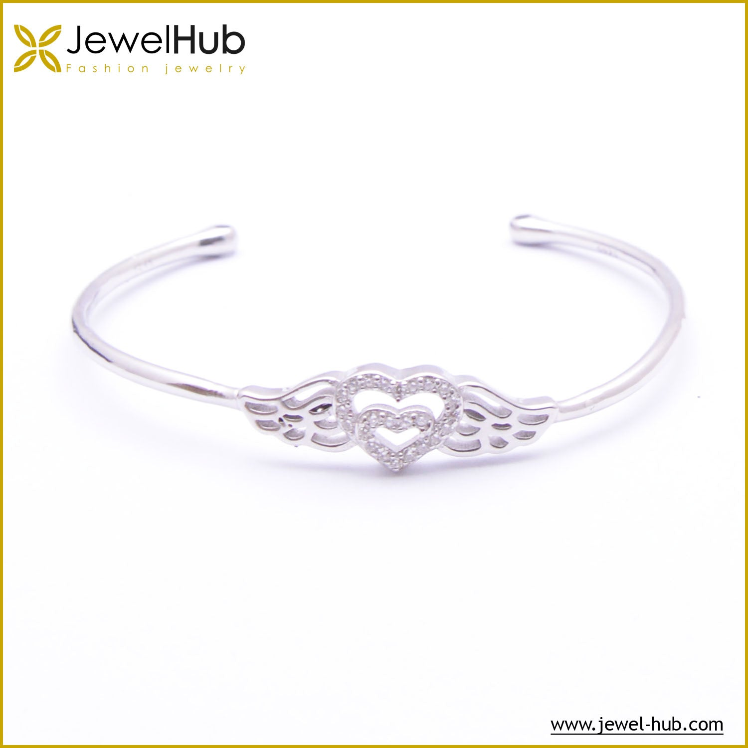Heart With Wings Silver Bangle