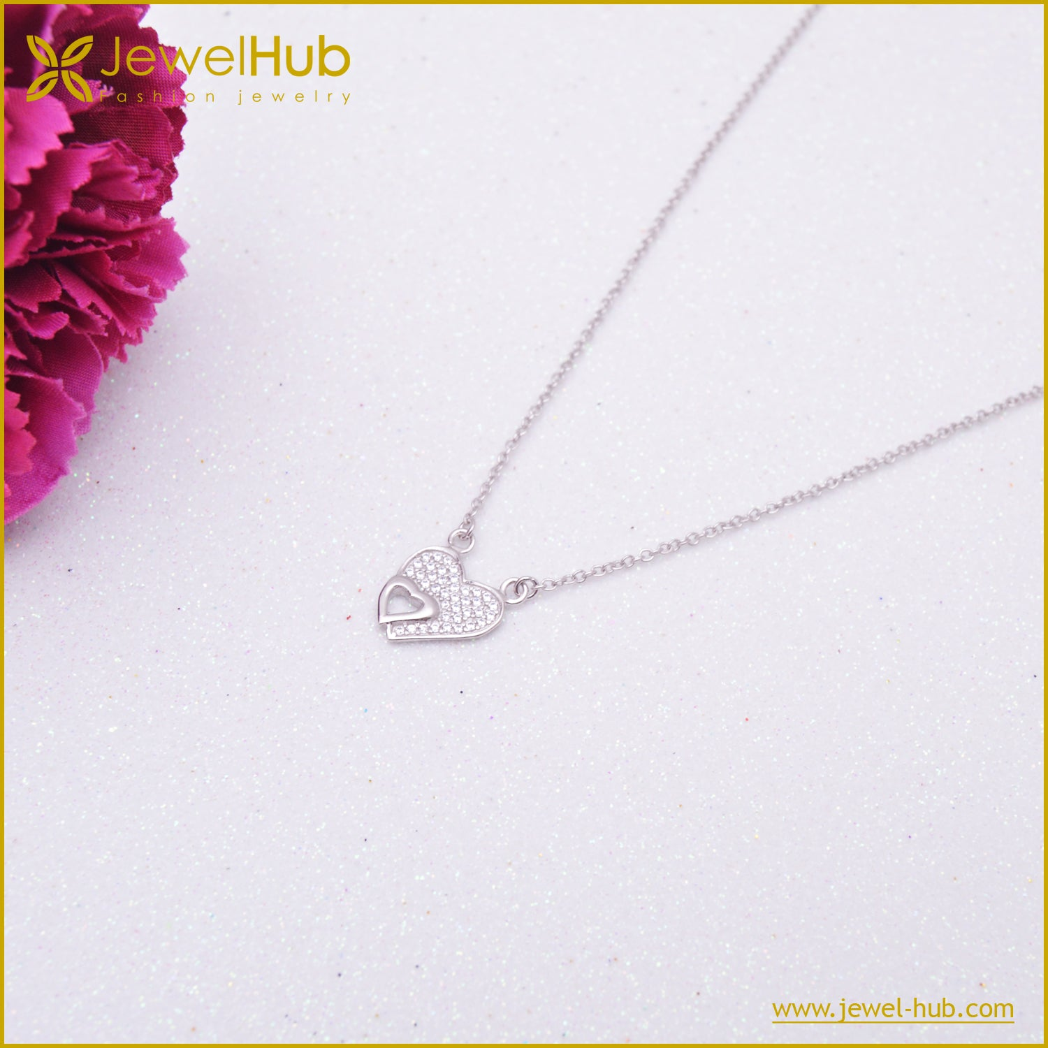 Heart Kiss Silver Necklace