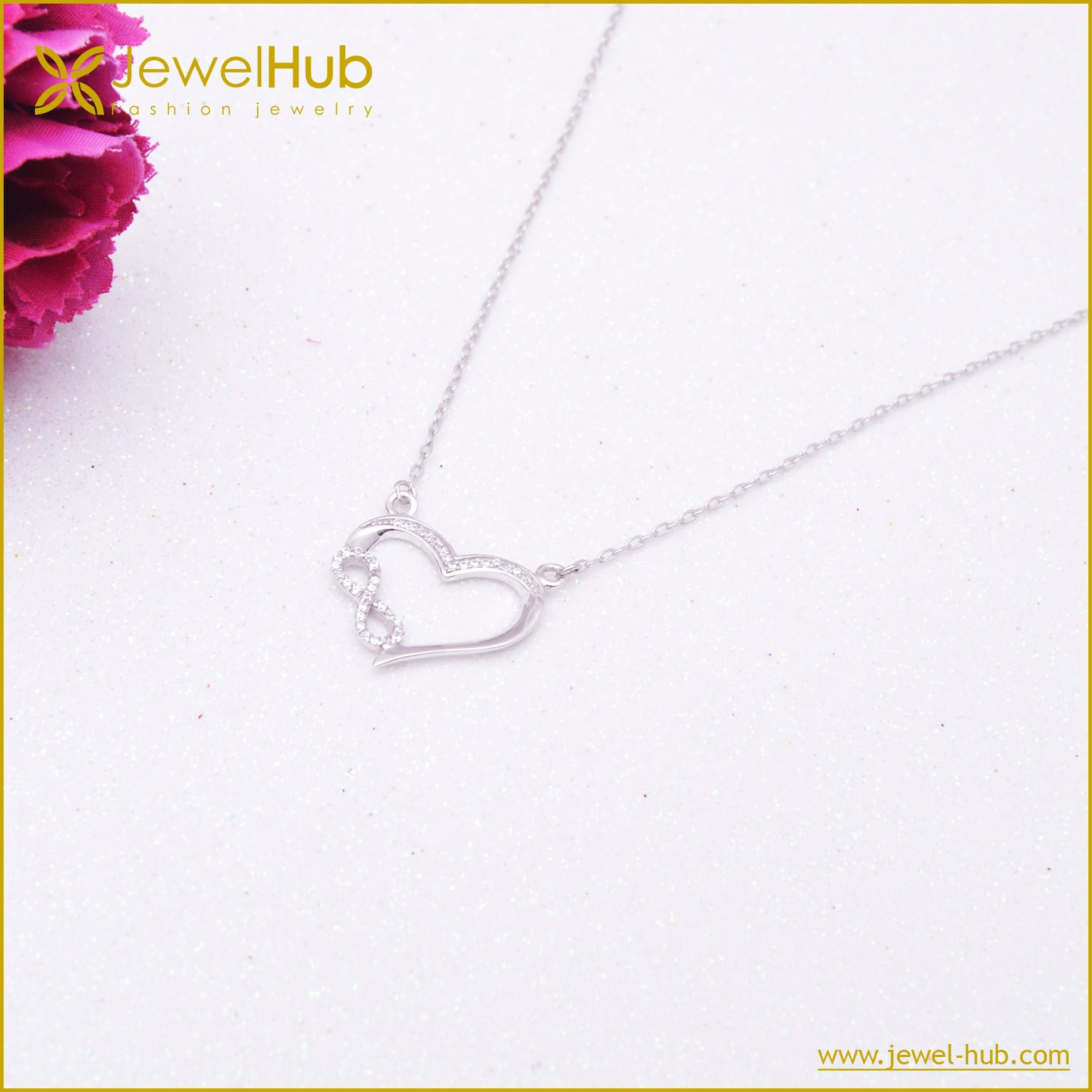 Heart With Infinity Silver Necklace
