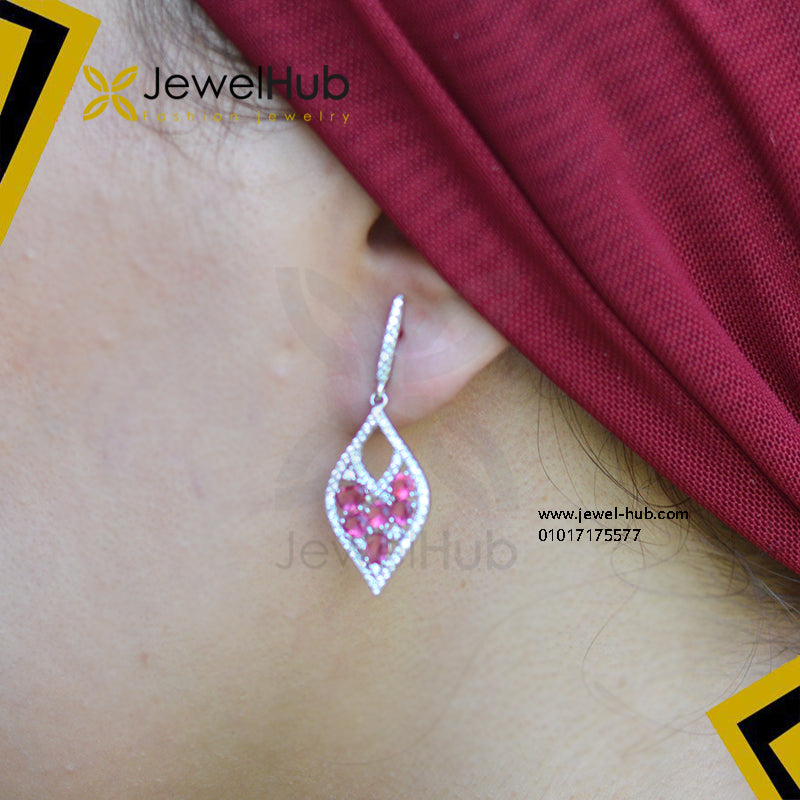 Elegant ruby CZ hook earring