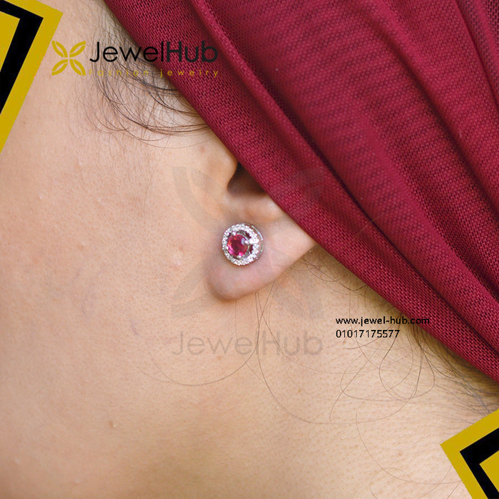 Round red CZ earring