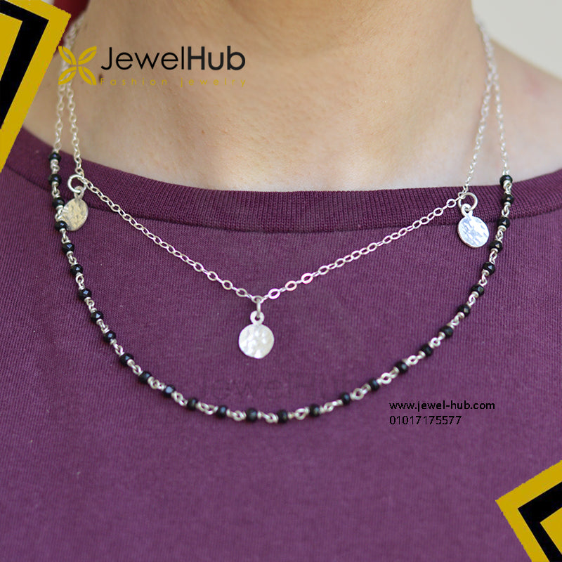 Multilayer black jade disc necklace