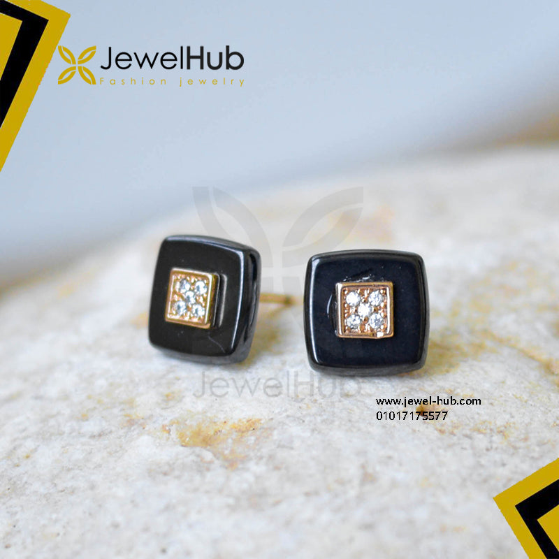 Black & Gold Square Earring