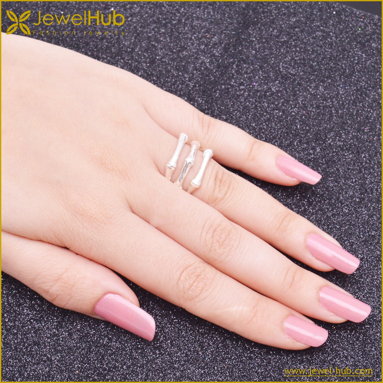 Ribbed Silver Ring