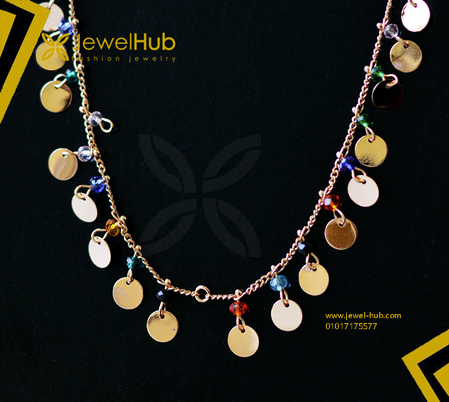 Colorful gold plated disc necklace
