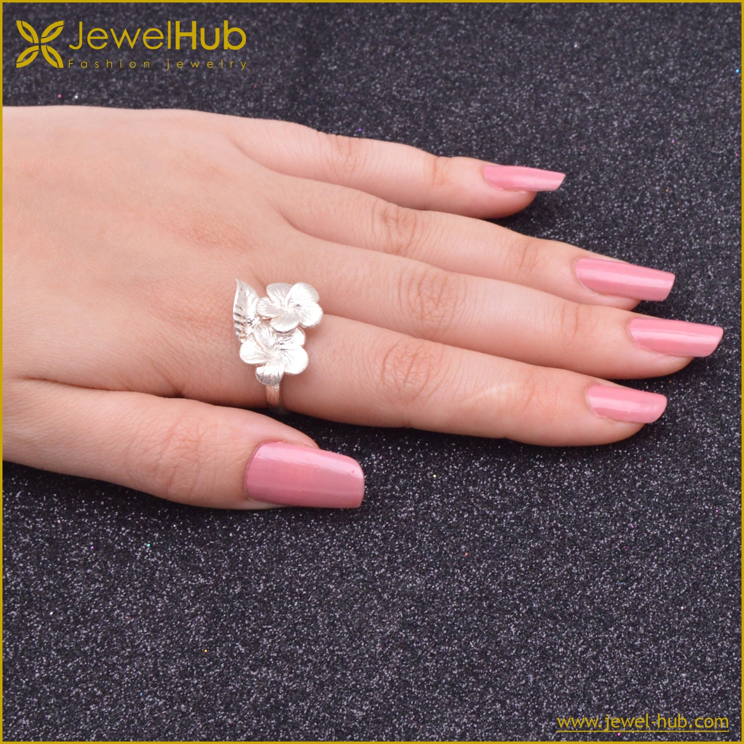 Lovely Flowers Silver Rings