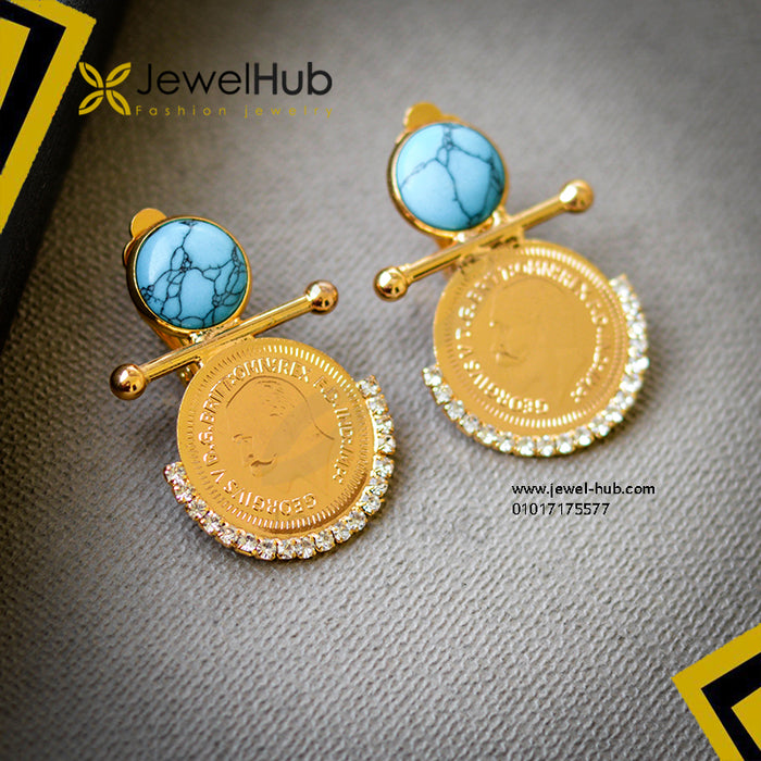 Turquoise Gold Plated Coin Earrings
