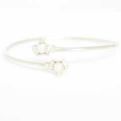 Double Crown Silver Bangle