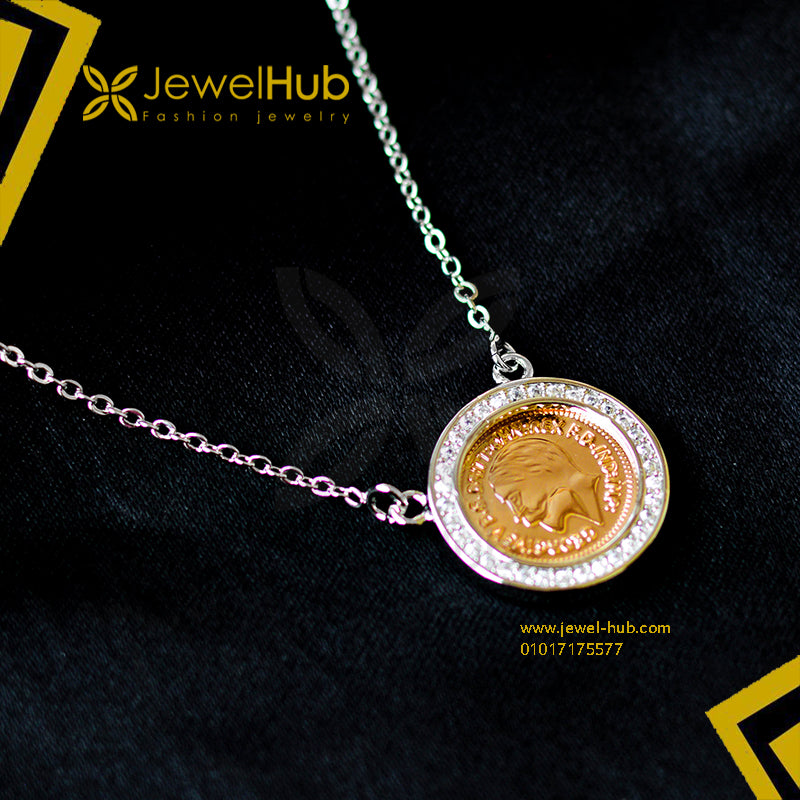 Silver & gold plated coin necklace