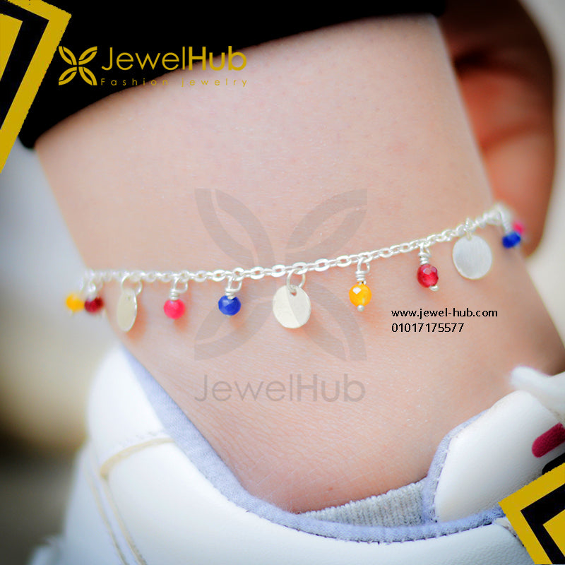 Colorful beads & disc silver anklet