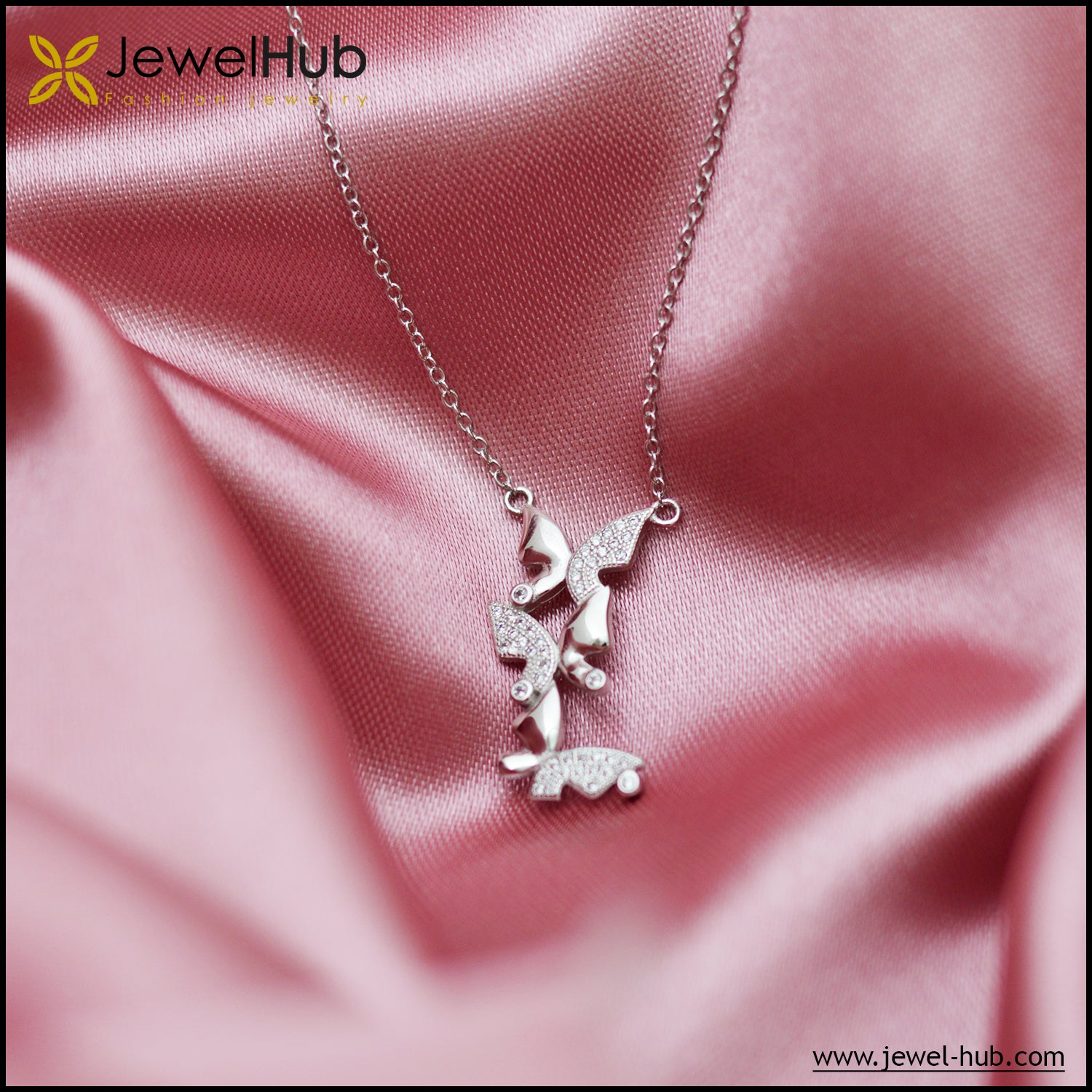Butterflies Silver Necklace