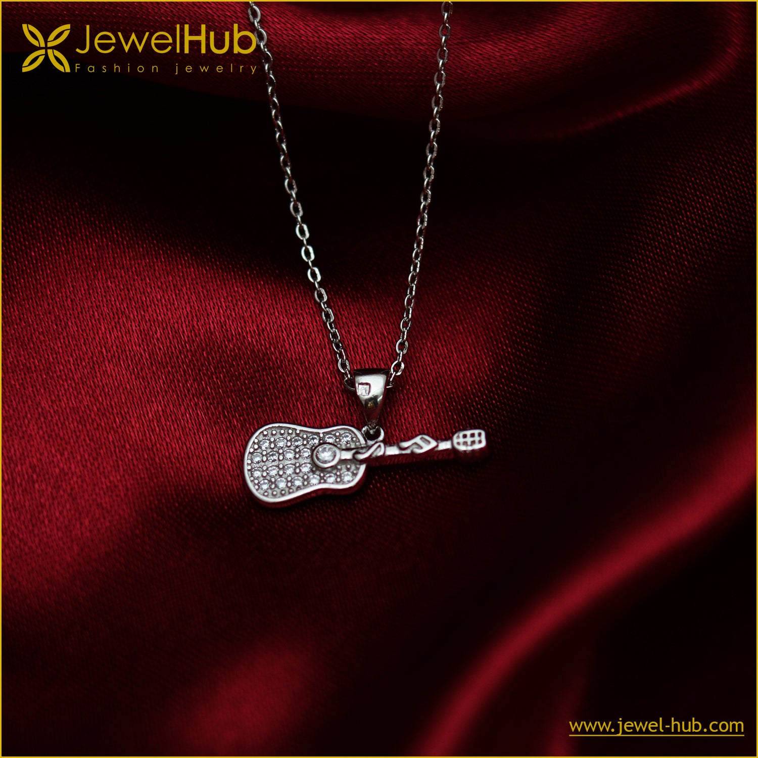 Guitar Silver Necklace