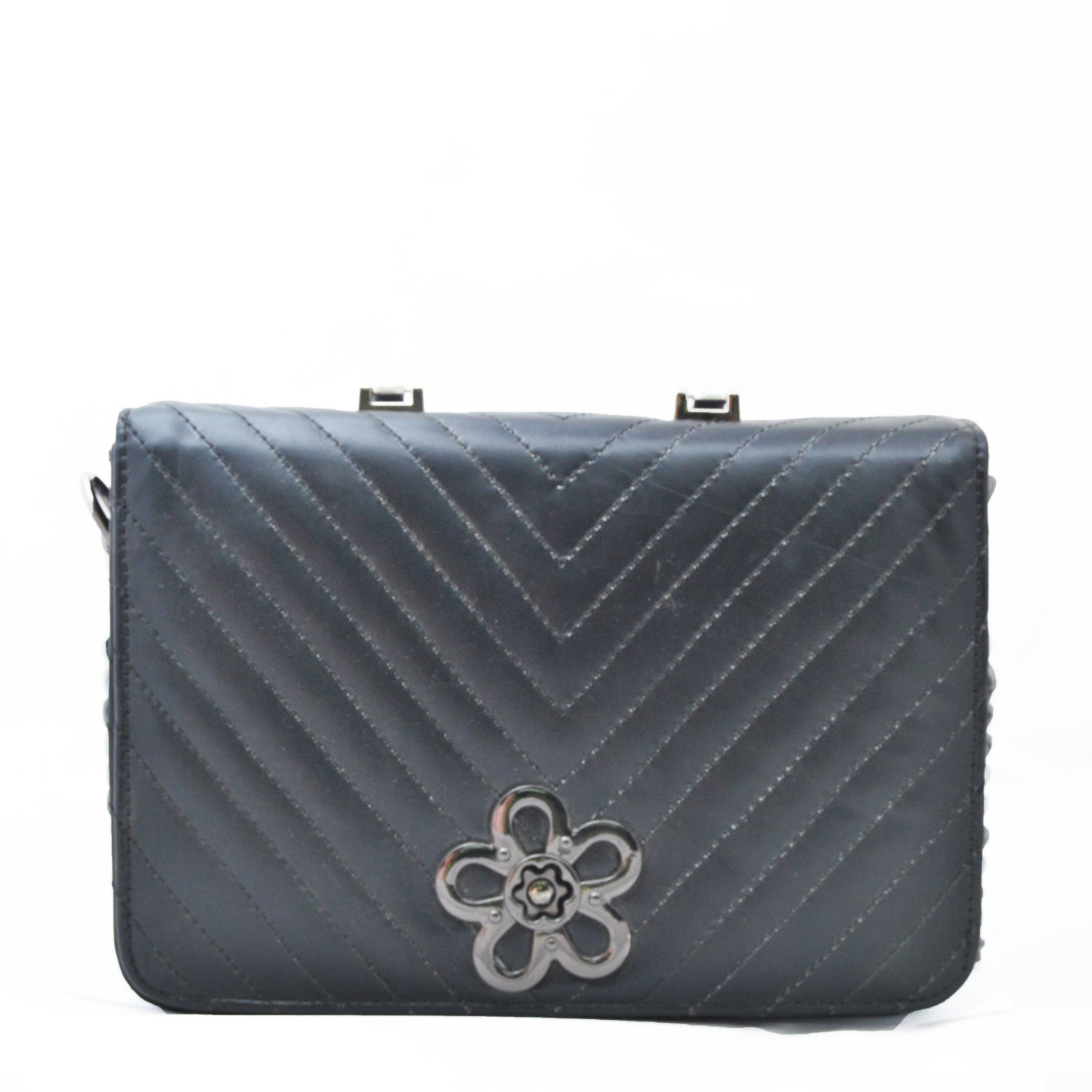 Flower Black Handbag