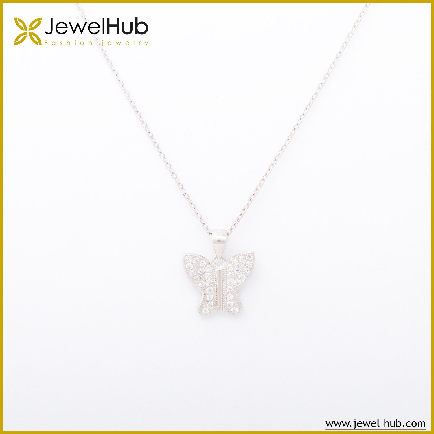 Big Butterfly Silver Necklace