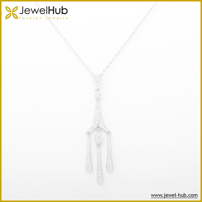 Crystals Silver Necklace, Necklace - JewelHub jewelry