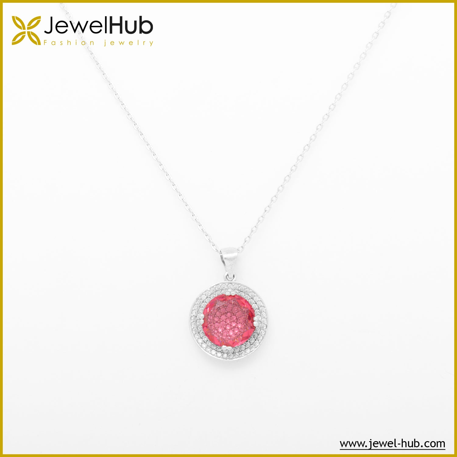 Crystal Pink Silver Necklace