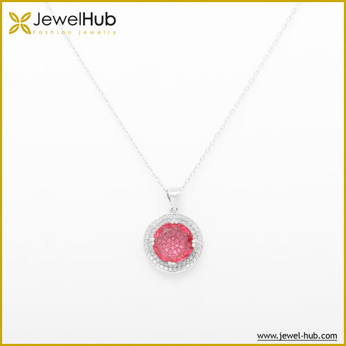Crystal Pink Silver Necklace, Necklace - JewelHub jewelry