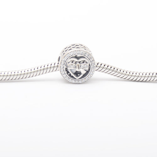 Heart With Necktie Silver Charm