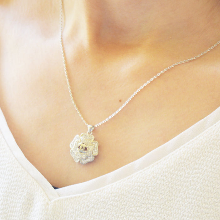 Big Flower Silver Necklace, Necklace - JewelHub jewelry