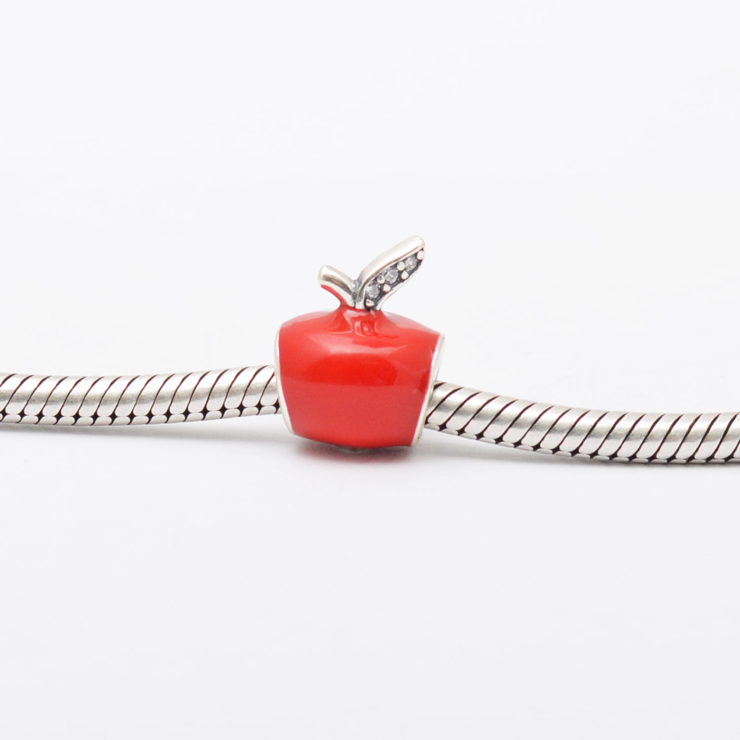 Red Apple Silver Charm