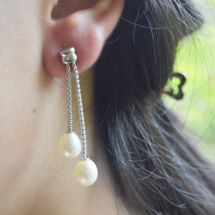 Pearls Silver Earrings, Earring - JewelHub jewelry