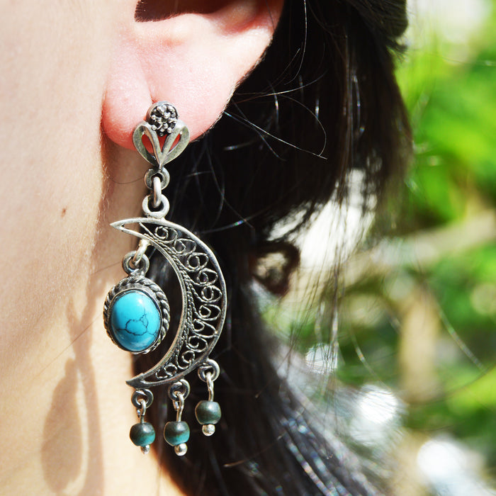 Crescent Silver Earrings, Earring - JewelHub jewelry