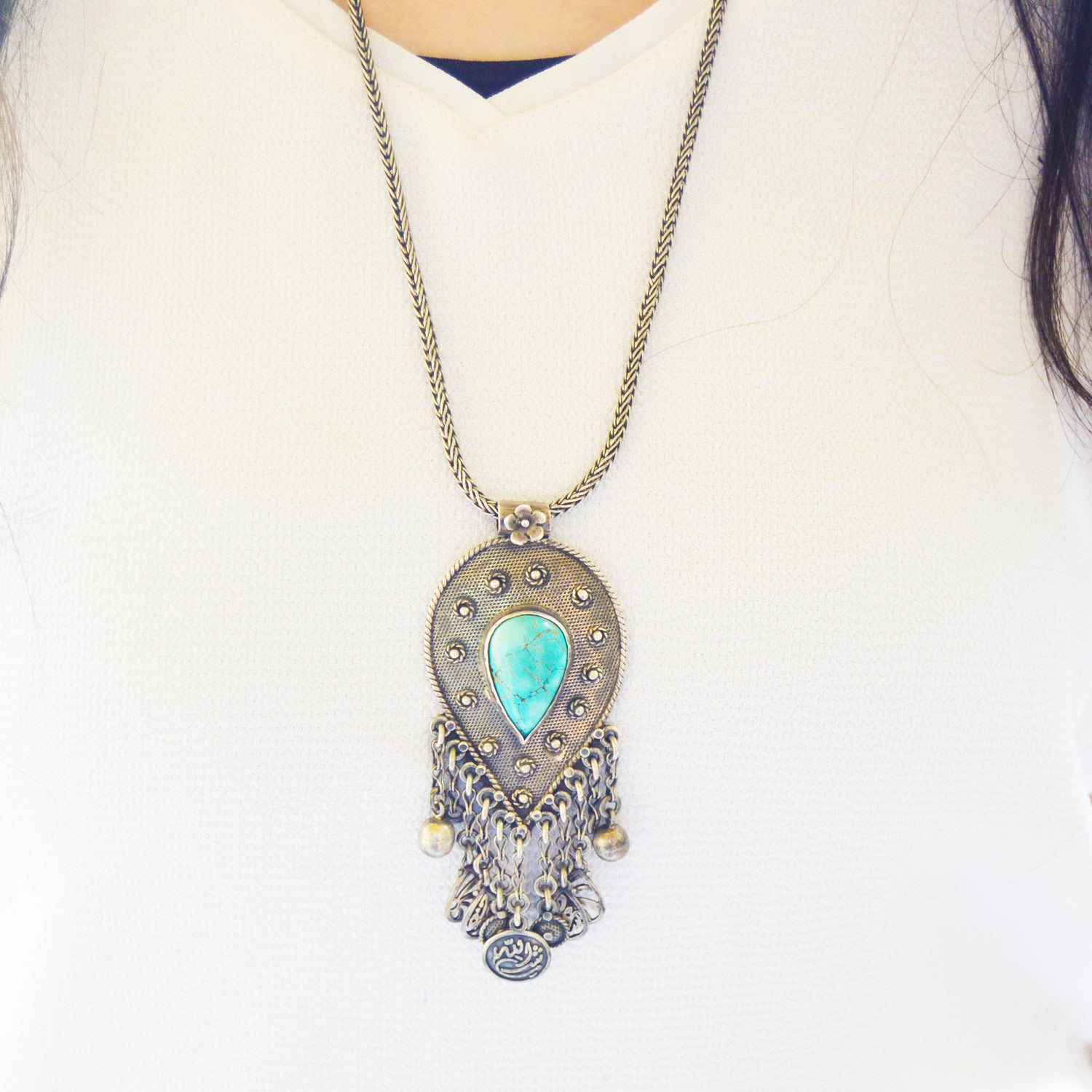Turquoise Arabian Silver Necklace