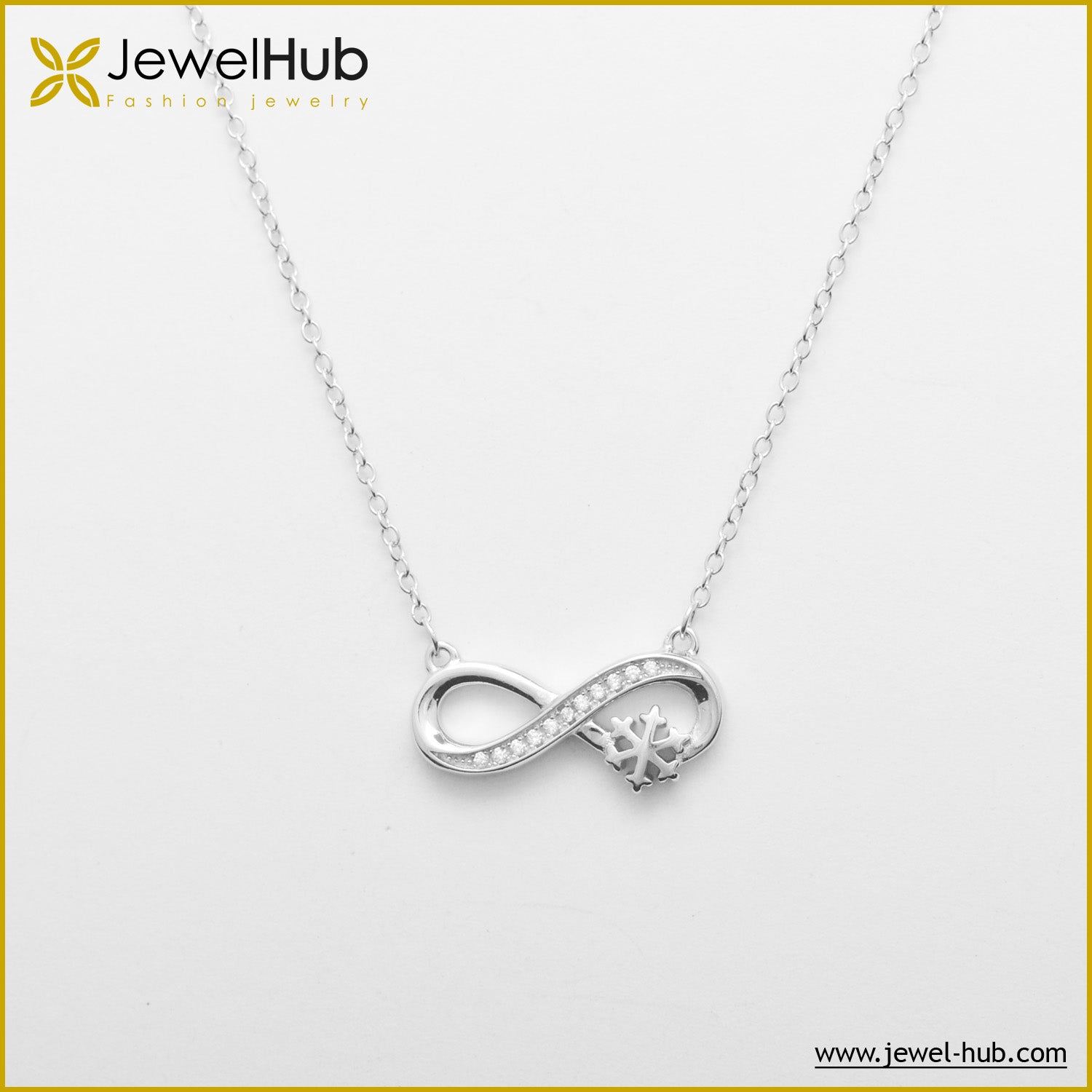 Infinity With Snow Flake Silver Necklace