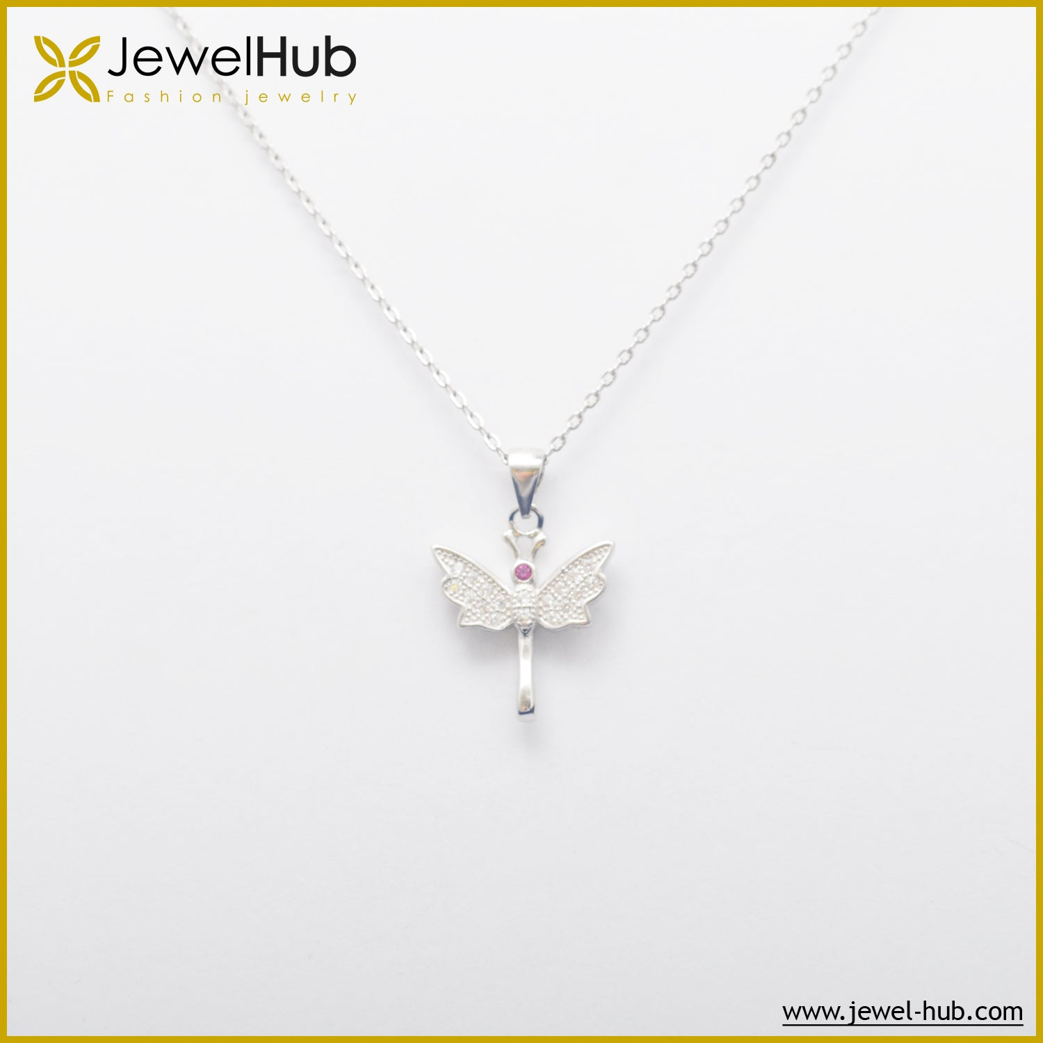 Butterfly Pink Silver Necklace