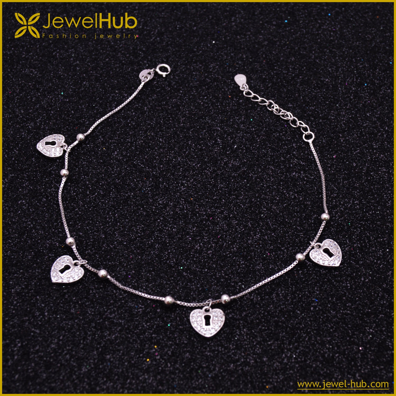 Lock Heart Silver Anklet