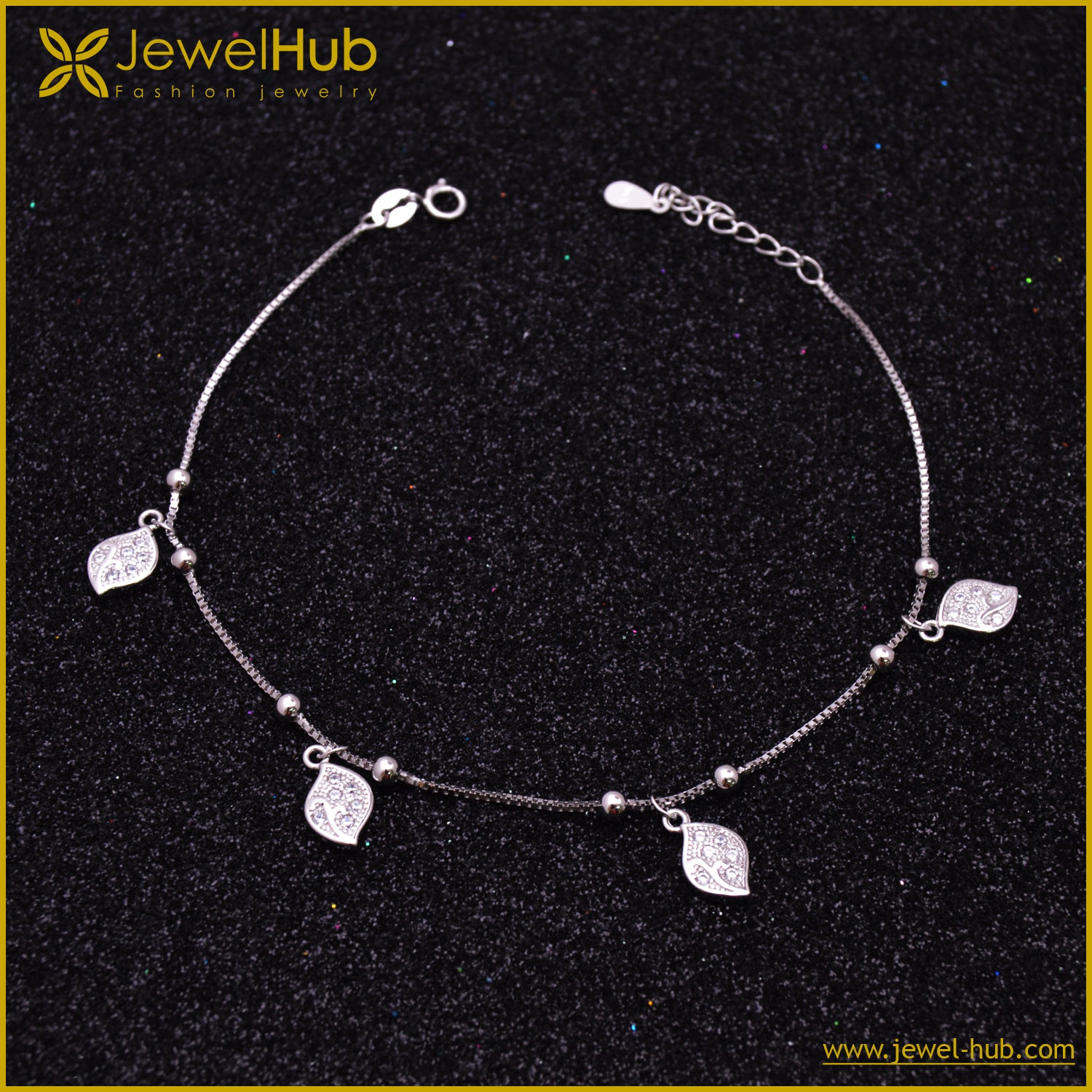 Tree Leaves Silver Anklet