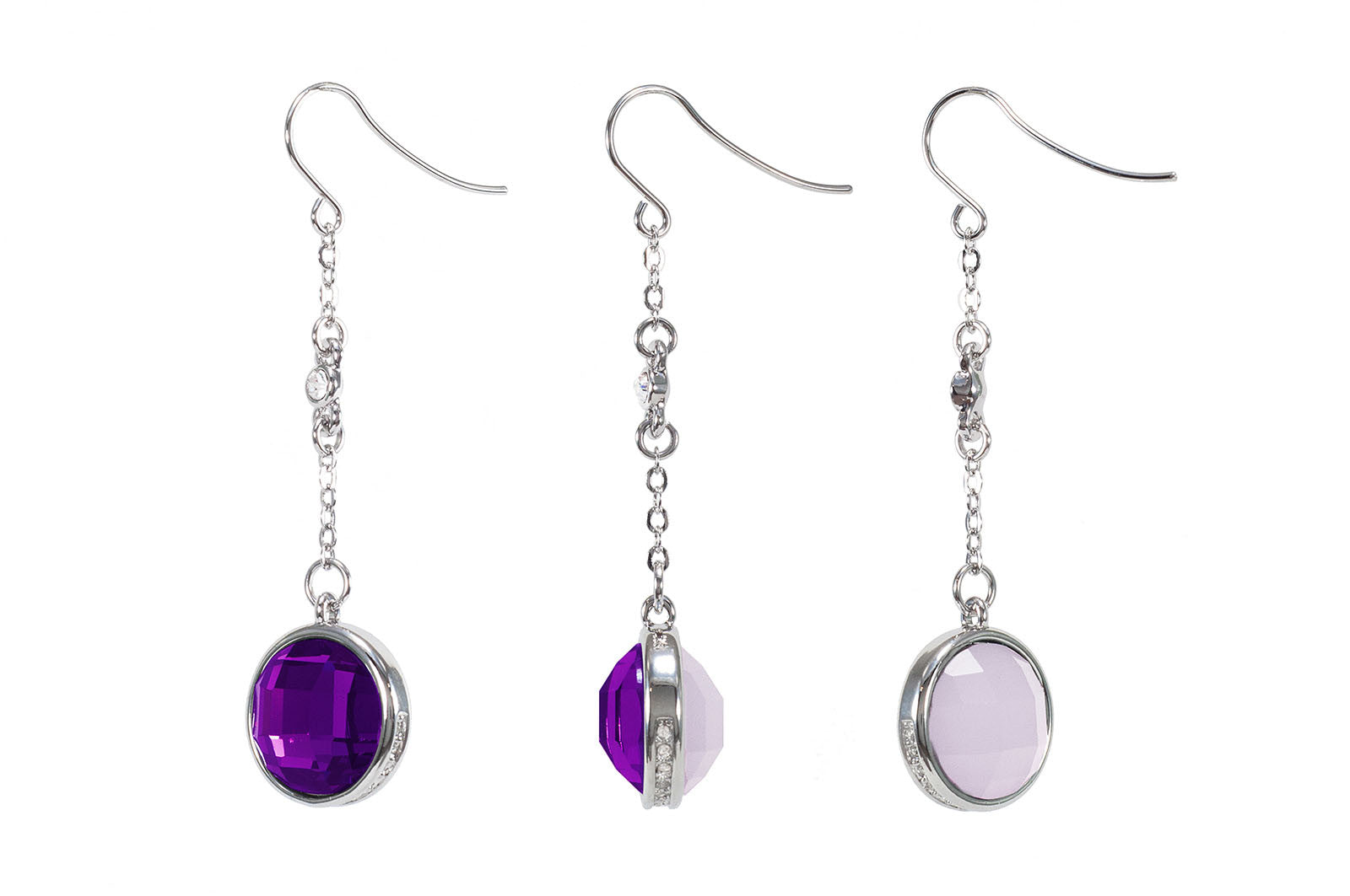 Purple Double Matt & Glitter Stone Earring