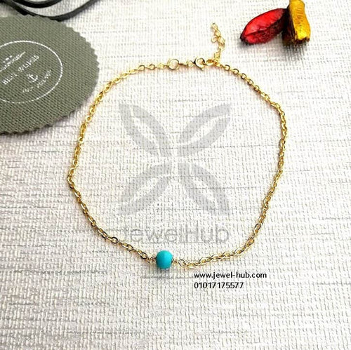 Simple blue stone anklet