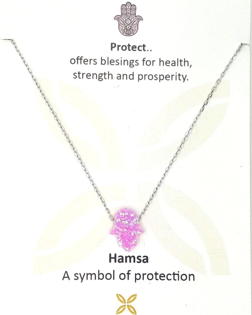 Pink Hamsa with Opal stones is bonded by sterling silver necklace.