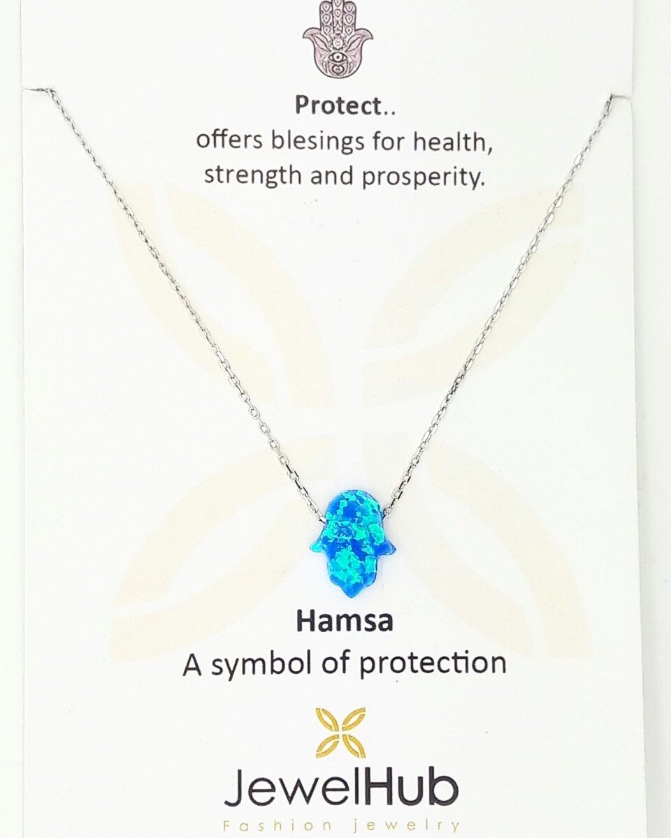 A twinkling blue Hamsa with embedded Opal stone is attached to the sterling silver 925 link.