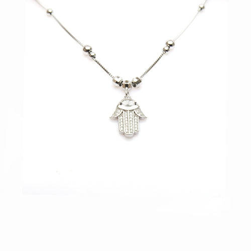 Hamsa Diamond Silver Necklace
