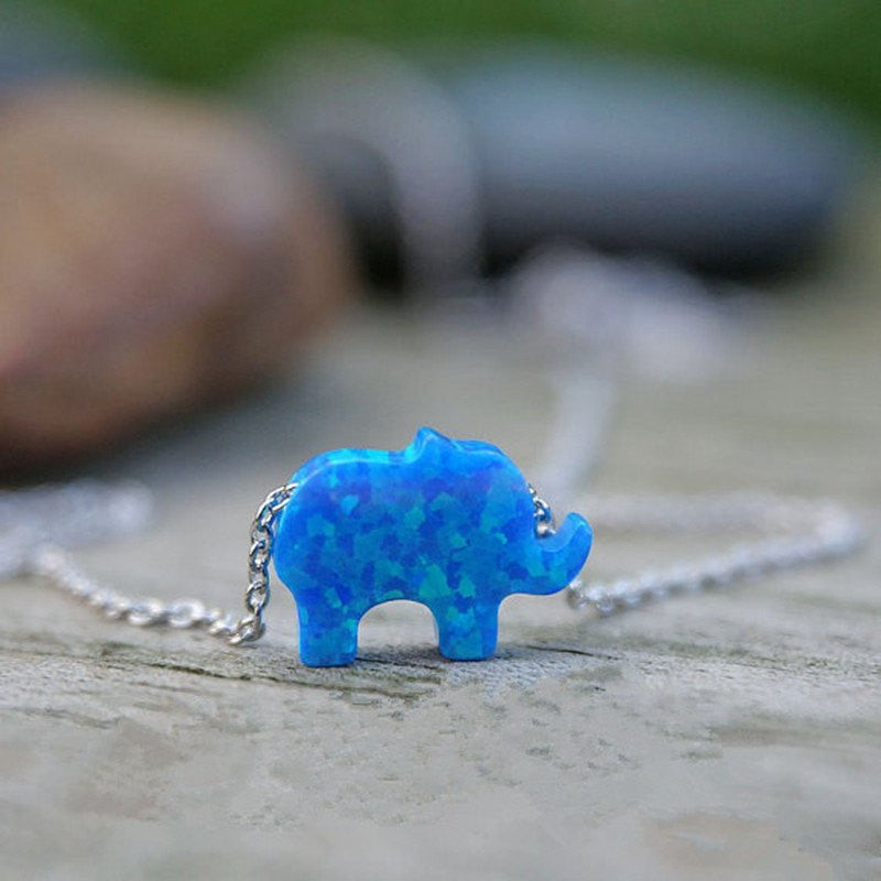 Elephant Opal Sterling Silver 925 Necklace
