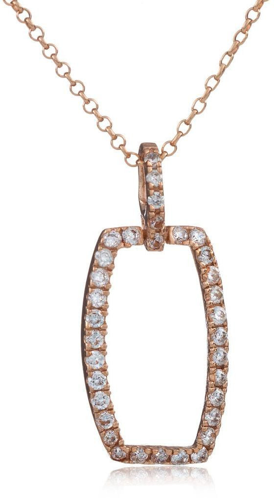 Rose Gold Silver Necklace With Crystals