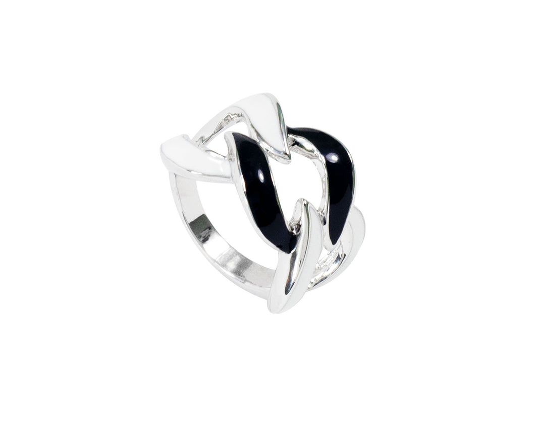 A silver ring with white and black stripes.