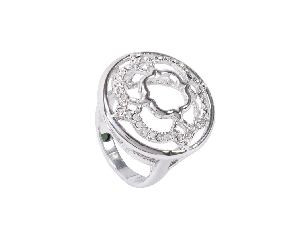 A twinkling silver ring with quadrants pattern.