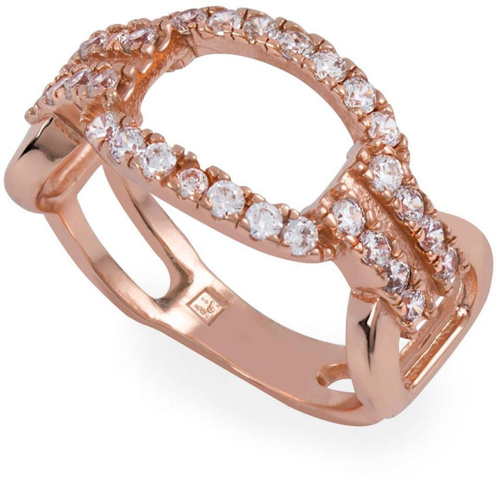 Crystals are embedded in the rose gold plated ring.